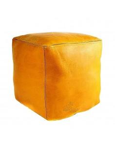 Pouf marocain cube jaune, pouf carré artisanal en cuir veritable