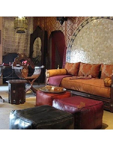 Pouf marocain cube tabac, pouf carré artisanal en cuir veritable