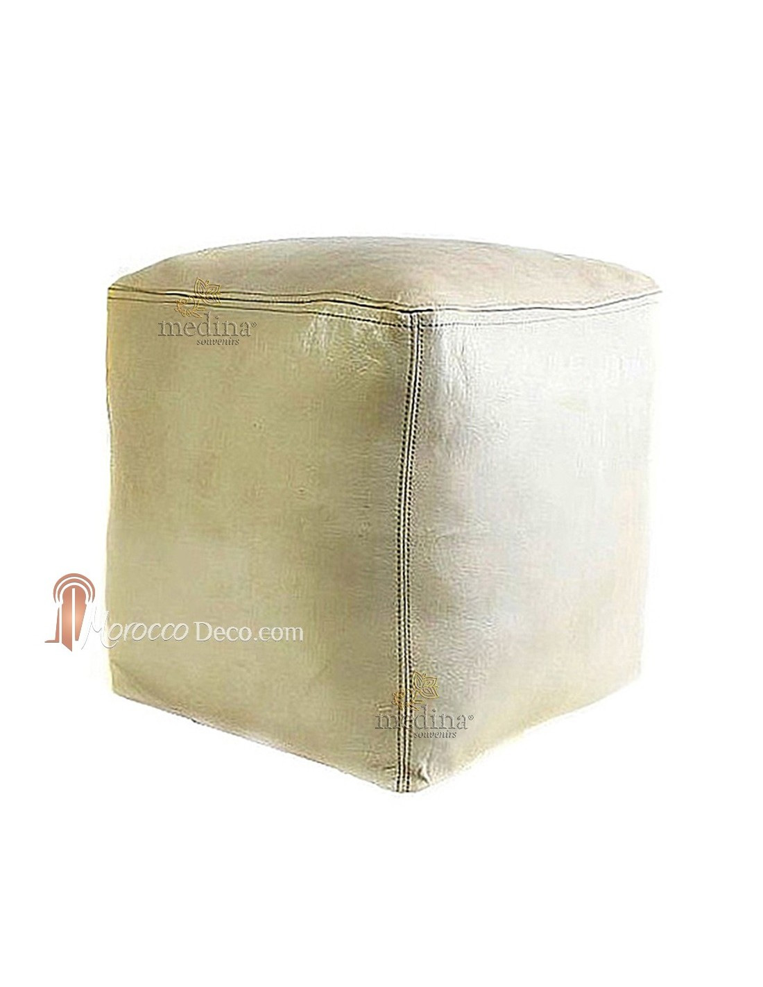 pouf marocain cube blanc en cuir pouf artisanal en cuir v ritable. Black Bedroom Furniture Sets. Home Design Ideas