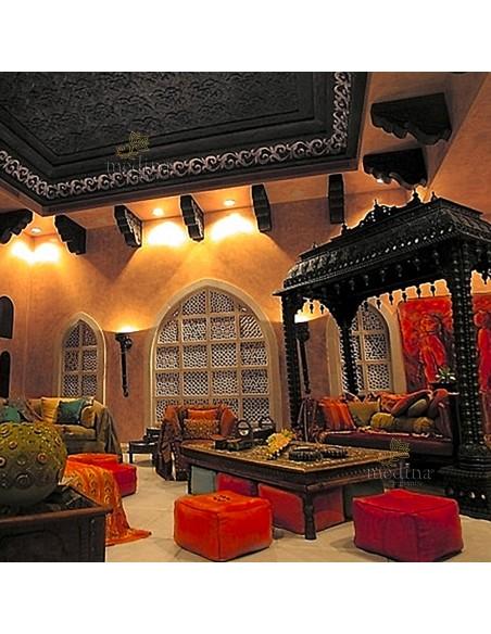 Pouf marocain cube blanc, pouf carré artisanal en cuir veritable