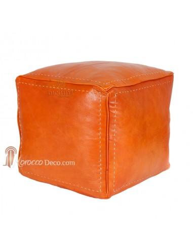 Pouf carré couleur orange en cuir surpiqué, pouf haute qualité entièrement fait main