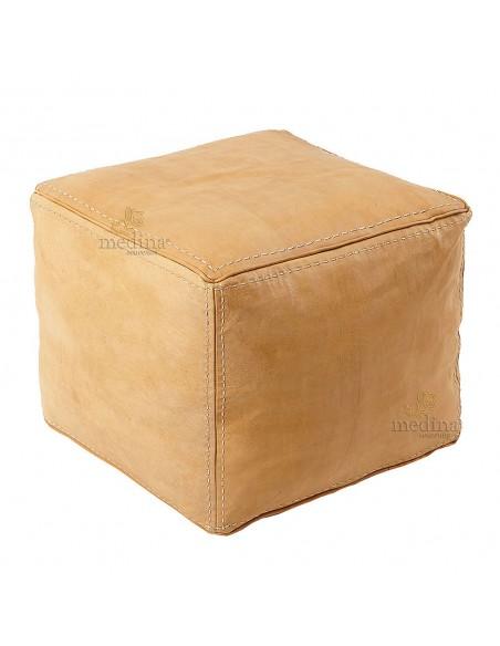 Pouf carré en cuir surpiqué couleur naturelle, pouf haute qualité entièrement fait main