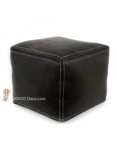Pouf carré noir en cuir surpiqué, pouf haute qualité entièrement fait main