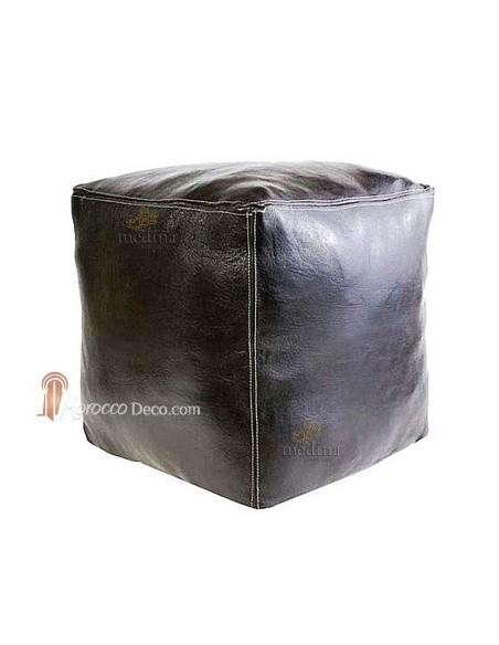 Pouf marocain cube noir, pouf carré artisanal en cuir veritable