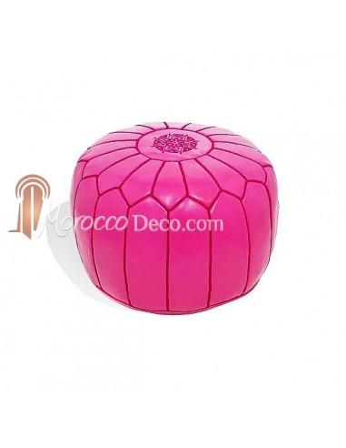 Pouf design cuir marocain Rose