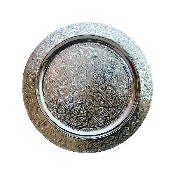 Plateau argent gravé Koutoubia