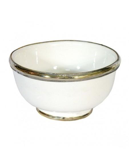 Bol artisanal blanc cerclé de métal inoxydable et émaillé a la main