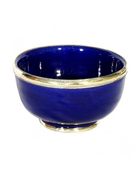 Bol artisanal bleu cerclé de métal inoxydable et émaillé a la main