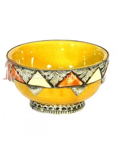 Bol artisanal orné et décoré et émaillé jaune