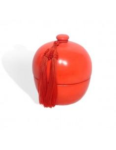 Boite boule rouge design en tadelakt et son pompon de soie