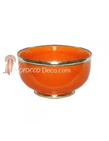 Bol artisanal orange cerclé de métal inoxydable et émaillé a la main