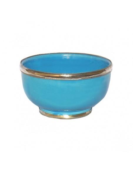 Bol artisanal turquoise cerclé de métal inoxydable et émaillé a la main