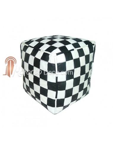 Pouf en cuir blanc et noir design carreaux