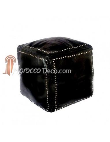 Pouf carré noir en cuir boutons argent