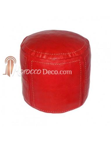 Pouf beldi rond en cuir rouge surpiqué