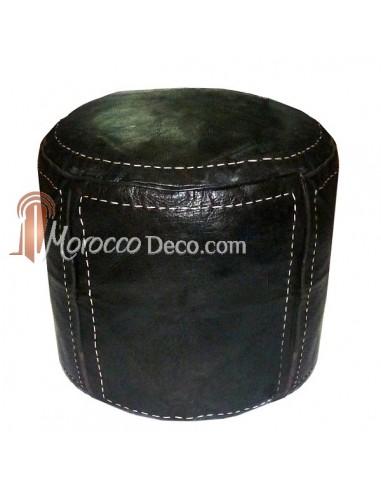 Pouf beldi rond en cuir noir surpiqué