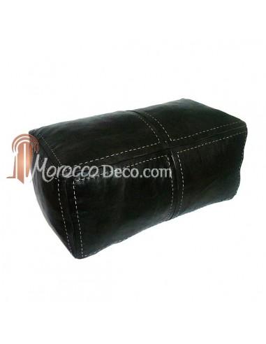 Grand pouf rectangulaire en cuir noir