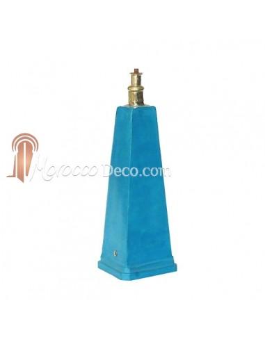 Pied de lampe en Tadelakt pyramide Turquoise