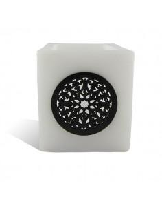 Photophore cube motif rosaceen blanc