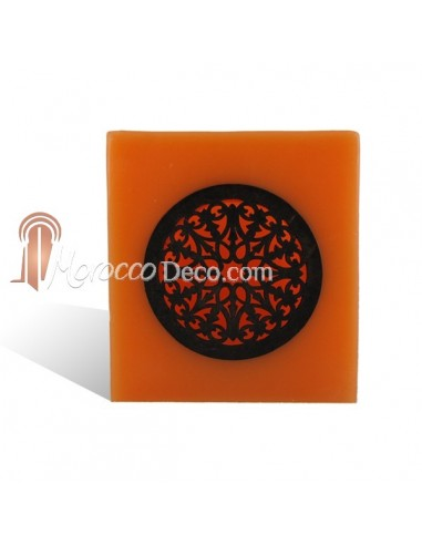 Photophore cube motif rosace en orange