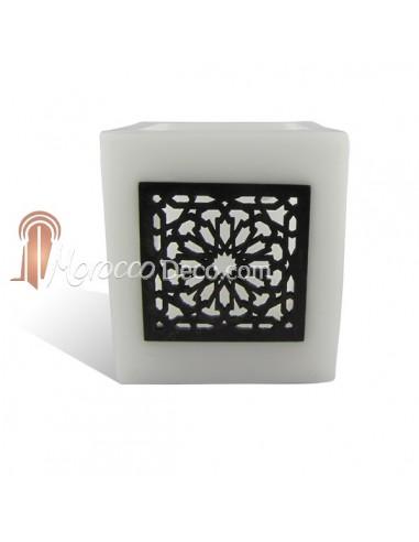 Photophore cube blanc motif carré mouchaibieh