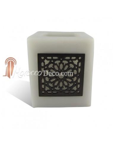 Photophore cube gris motif carré mouchaibieh