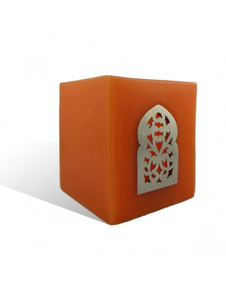 Photophore orange cube motif porte arcade métal
