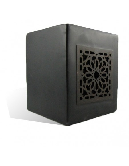 Photophore cube noir motif carré mouchaibieh