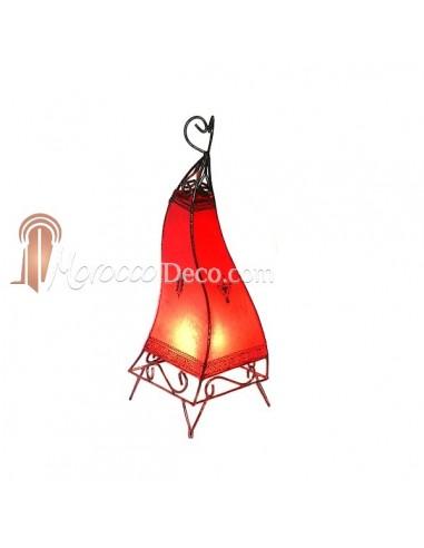 Lanterne beldi en fer forgé et peau rouge