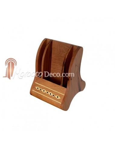 Support téléphone en bois de thuya et citronnier
