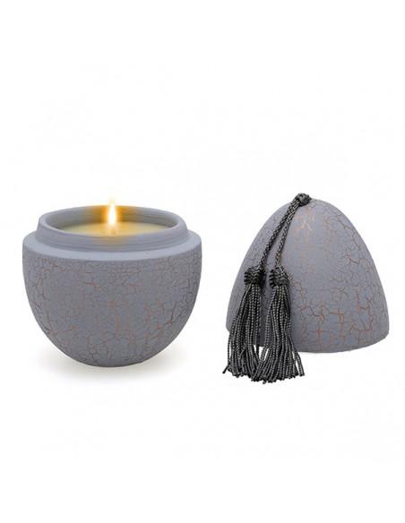 Bougie parfumée en oeuf tadelakt craquelé gris